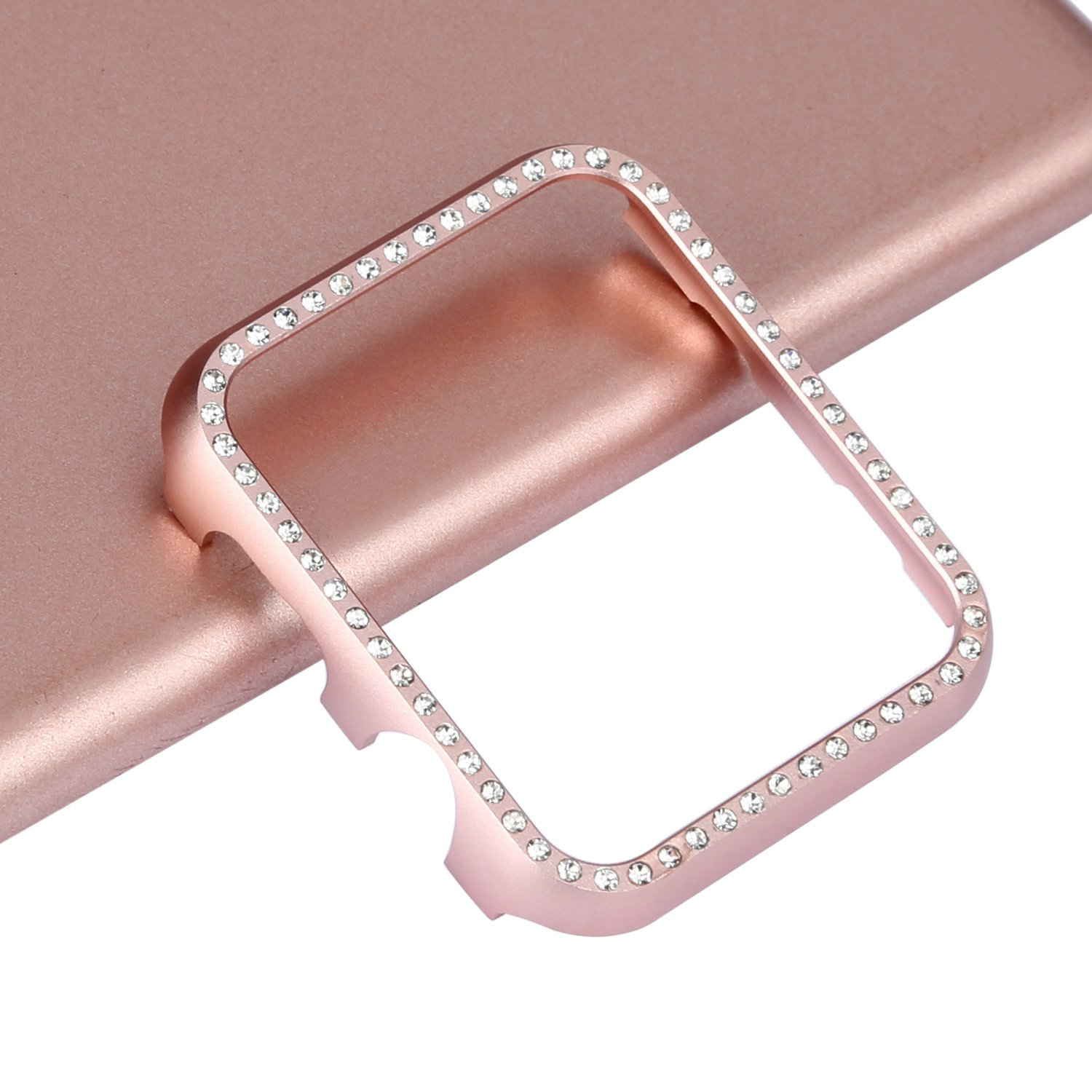 Apple Watch Bumper 42mm, iWatch Crystal Rhinestone Diamond Aluminum Case Shell Protective Frame Cover for 42mm Apple Watch Series 3/2/1 - Rose Gold by Clatune (Image #6)