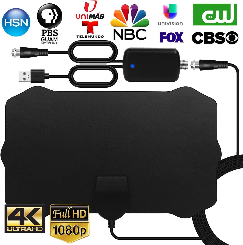 WEWAK Antena TV Interior Antena de HDTV Digital con Amplificador de Señal 4K 1080p VHF UHF Alcance de 120 Millas Antena TV TDT Canales de TV Locales
