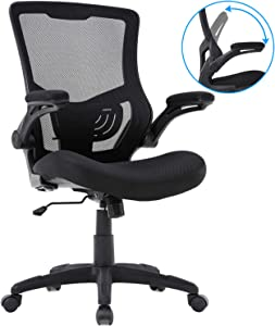 Home Office Chair Mesh Desk Chair Computer Chair with Lumbar Support Flip Up Arms Ergonomic Chair Adjustable Swivel Rolling Executive Mid Back Task Chair for Women Adults, Black