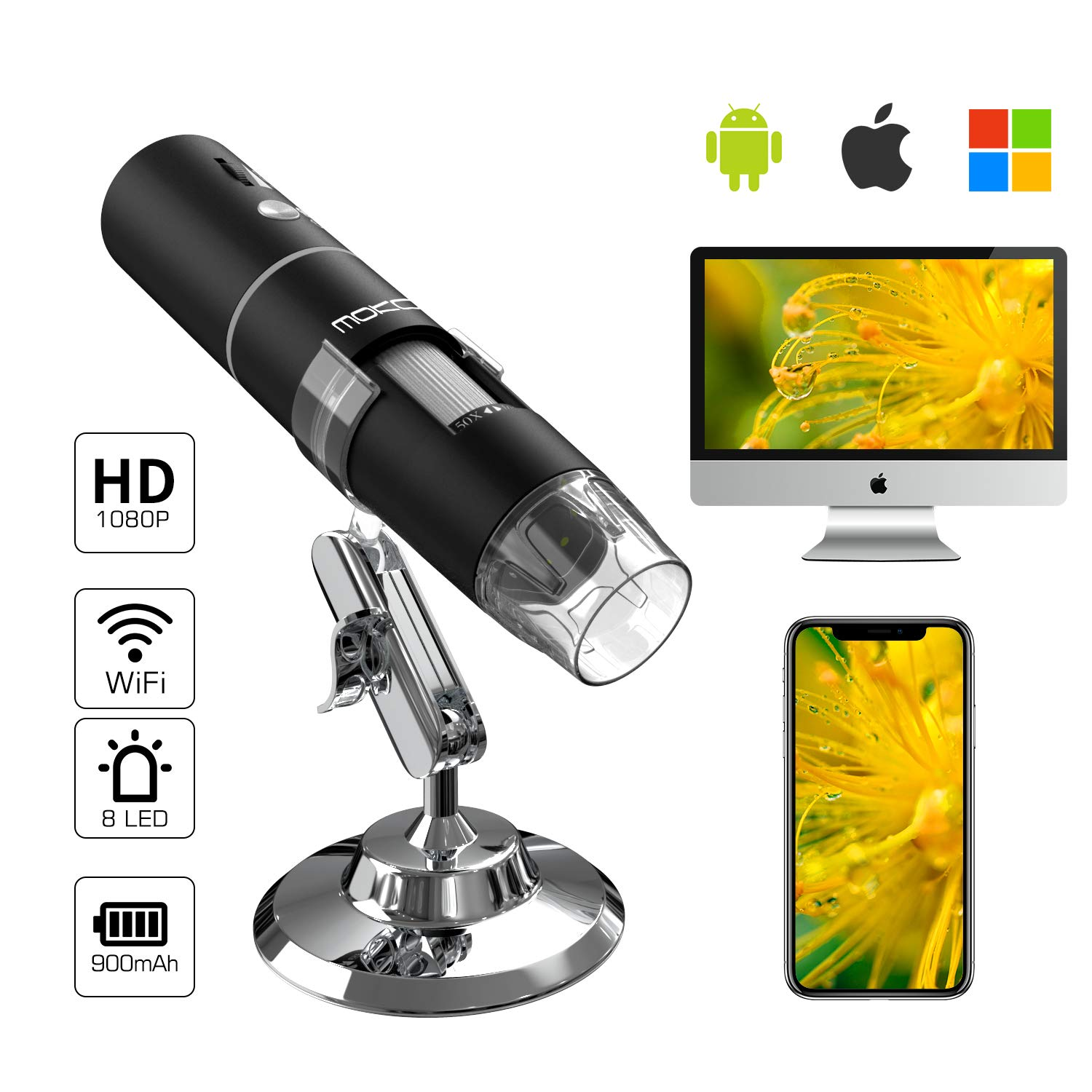 MoKo WiFi USB Digital Microscope, 1080P HD 2MP Camera, 8 LED Mini Pocket Handheld Wireless Endoscope 50x to 1000x Magnification, Metal Stand Compatible with iPhone/iPad/Mac/Window/Android/iOS - Black by MoKo