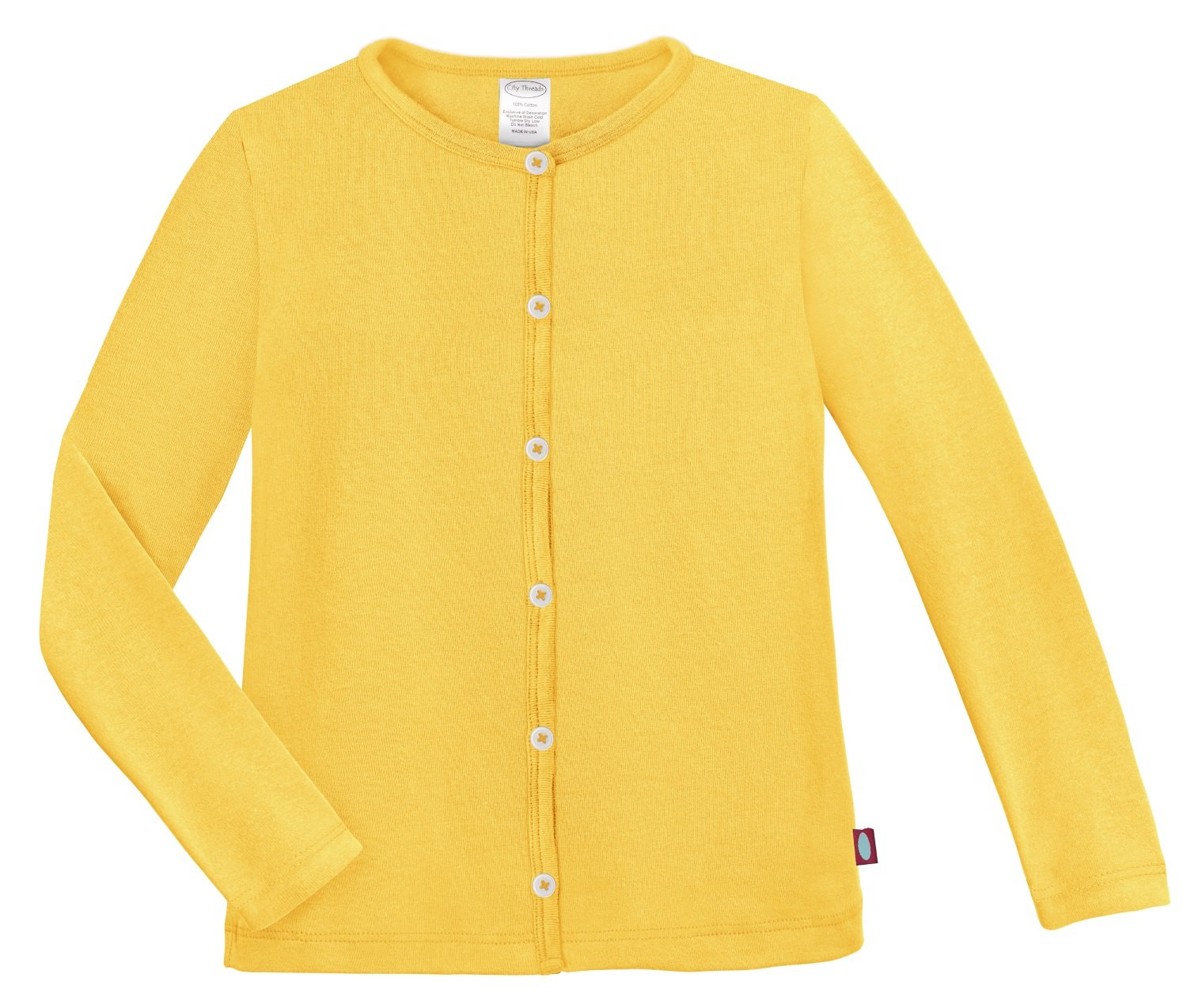 City Threads Girls Cardigan Top Button Down Sweater Layering School Play For Sensitive Skin SPD Sensory Friendly, Yellow, 10