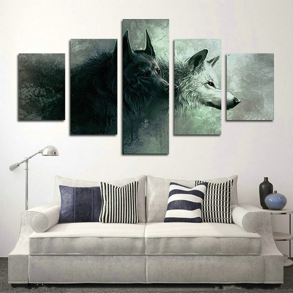SwmArt 5 Piece HD Printed wolf poster room decor wall painting art canvas Canvas Print(60'W x 32'H, Framed)