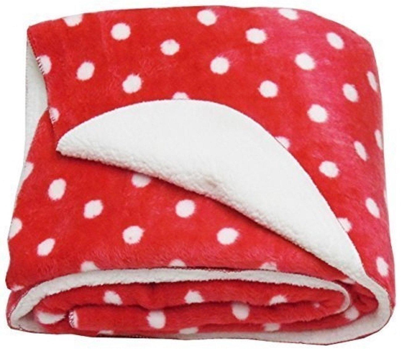 Brandonn Polka Wrapping Sheet Cum Baby Blanket for Babies(Red, 75cmx98cm)