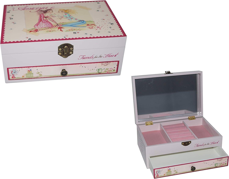 takestop® Caja joyero Amistad jh507 joyero de 21 x 14 x 9 cm con Cajón Espejo Pendientes Estuche de Maquillaje Baúl cosméticos: Amazon.es: Electrónica
