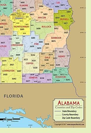 Amazon Com Alabama Map With Zip Codes And Counties Vinyl 36 W