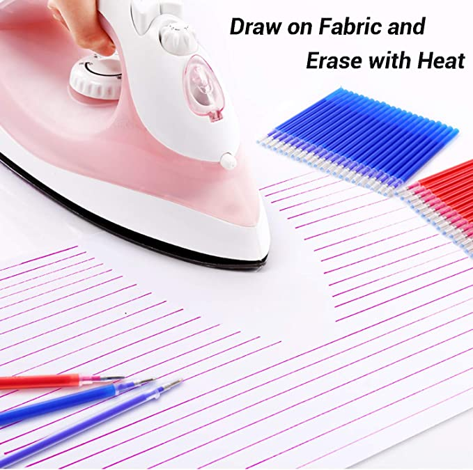 20Pcs Heat Erasable Fabric Refills with 4 Empty Pen Patchwork Marking Pens High Temperature Disappearing Ink Fabric Marker for Embroidery Handicarft Needlework Tailors Sewing Quilting and Dressmaking