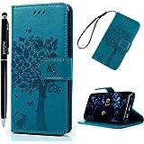 """S8 Funda Libro Suave PU Leather Cuero impresión - Badalink Case Con Flip case cover, Cierre Magnético, Función de Soporte, Billetera con Tapa para Samsung Galaxy S8 5.8"""" - Diseño de Tejeazote, Azul"""