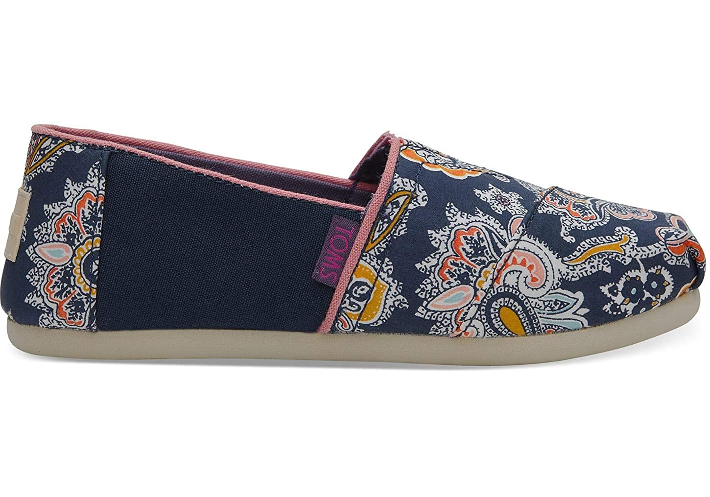Amazon.com | TOMS Kids Girls Alpargata (Little Kid/Big Kid) Navy Paisley Multi Liberty Louis Print 4 M US Big Kid | Shoes