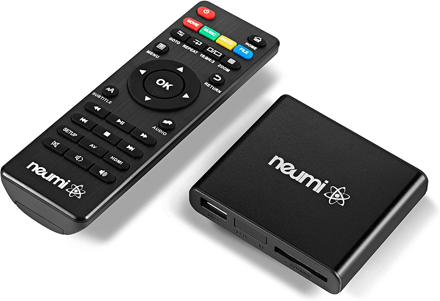 NEUMI Atom 1080P Full-HD Digital Media Player for USB Drives and SD Cards - with HDMI and Analog AV, Automatic Playback and Looping Capability