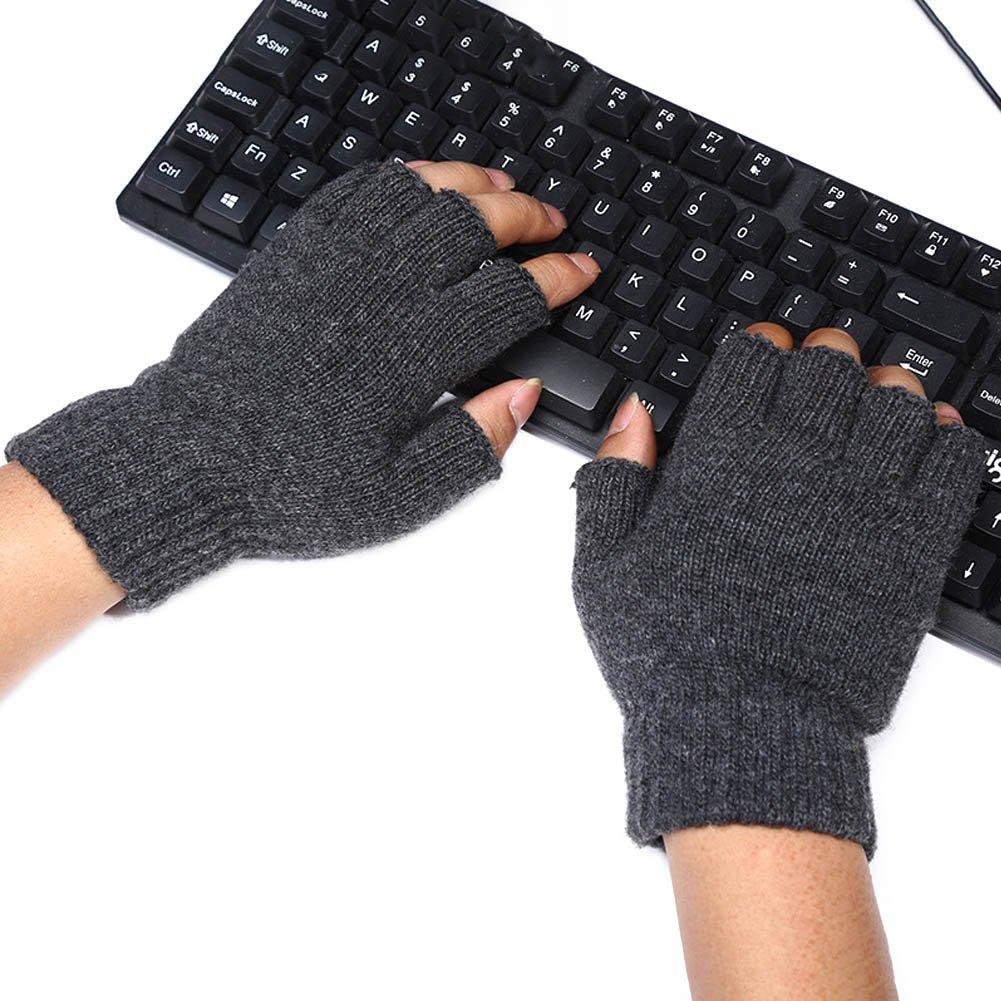 Mwfus Wool Knitted Half Finger Gloves Winter Warm Thicken Gloves for Men