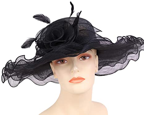 f064a8cf12776 Ms. Divine Collections Women s Sinamay Derby Church Hats - HL102 (Black)
