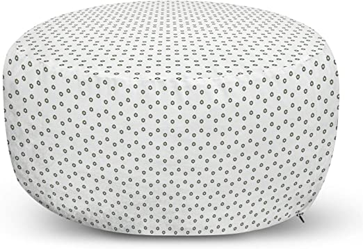 Ambesonne Minimalist Ottoman Pouf Small Hexagons Shapes In Geometrical Design And Monochrome Style Decorative Soft Foot Rest With Removable Cover Living Room And Bedroom Reseda Green And White Furniture Decor