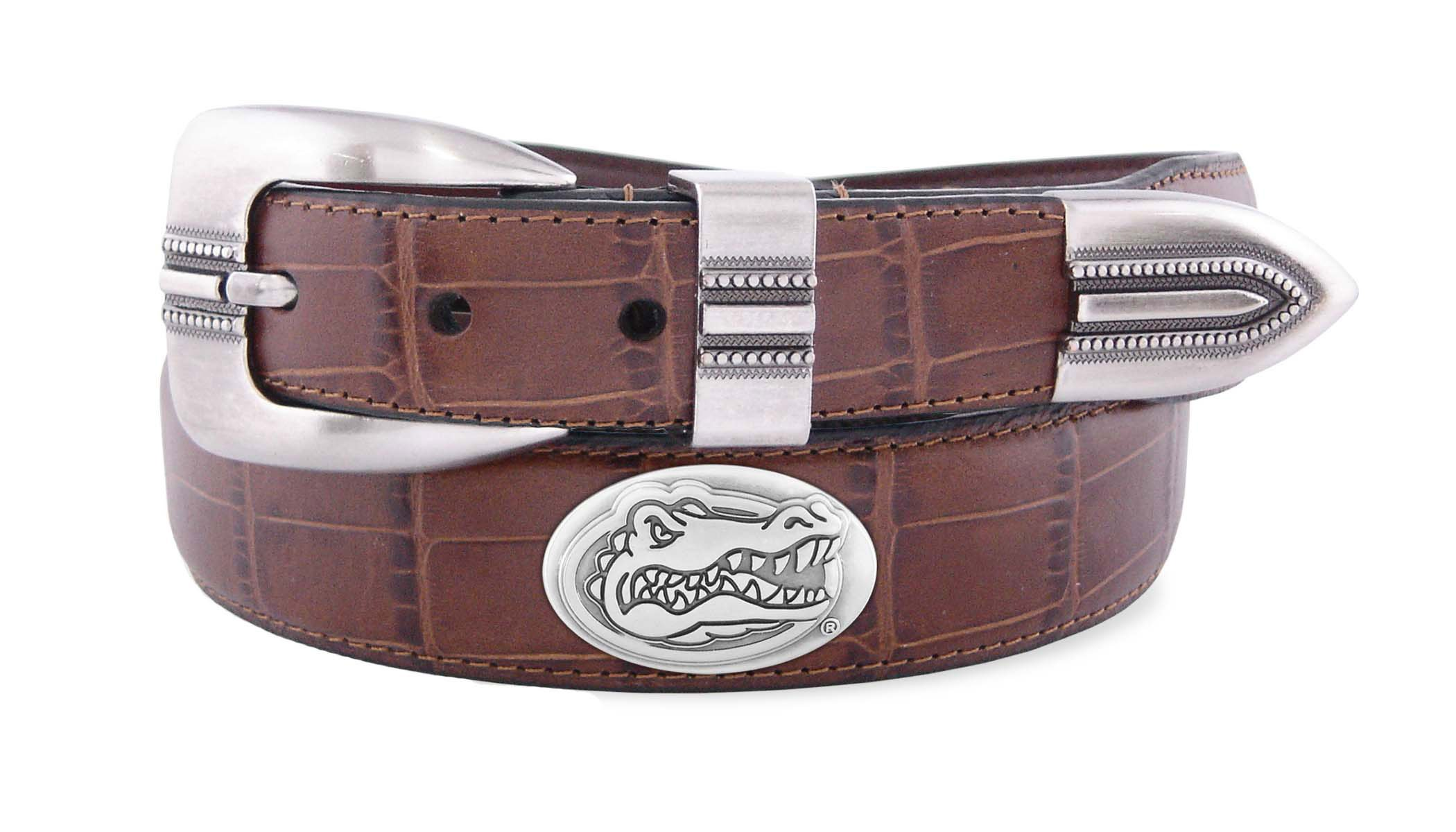 NCAA Florida Gators Tan Crocodile Tip Leather Concho Belt, 32