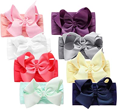 8pcs Super Stretchy Knot Nylon Baby Headbands For Newborn Girls Infant Toddlers