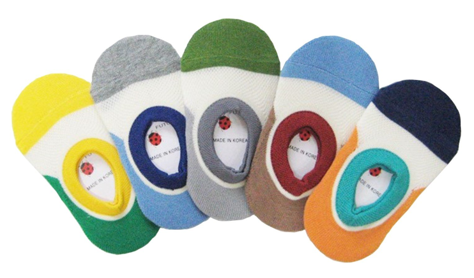 Short Baby Socks, Non-Skid, 5-Pack set for 1-3 Year Baby