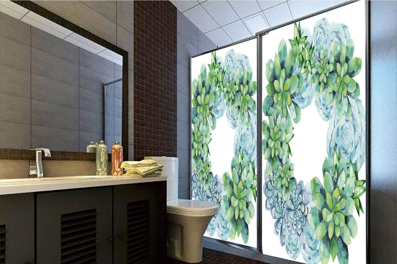 Horrisophie dodo 糊不要 静電気付着ガラスステッカー 多肉植物 小さな石とミニチュア植物 花 葉 農業 野菜 イメージ 装飾 マルチカラー 高さ35.43インチ×幅23.62インチ 自宅&オフィス用 47.24