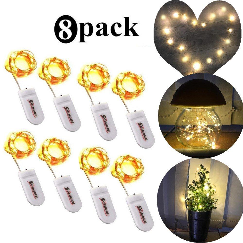 SOLMORE Luci Stringa a Batteria LED stringa fata luce 8 Pcs IP44 String luce Per decorazione interna esterna patio giardino Rame filo della lampada