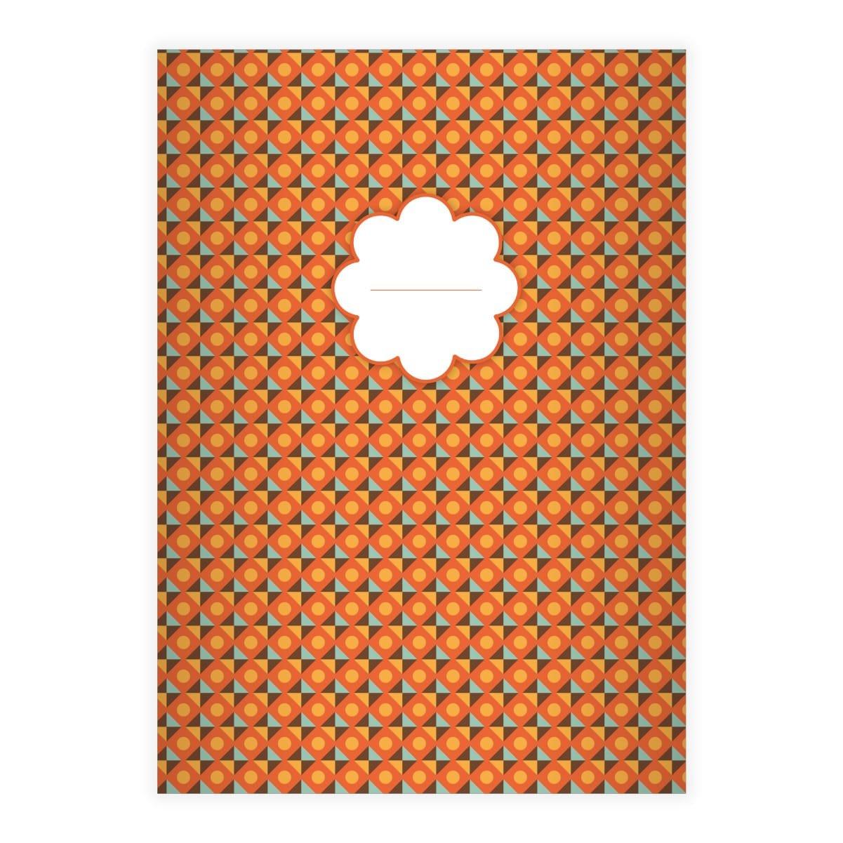 cahier chic, retro lign/é; avec bord des deux c/ôt/és 29,7x21; 32p retro avec dessin en style des ann/ées 70 jaune A4 1 cahier chic lin/éatur 27 cahiers pour /écrire