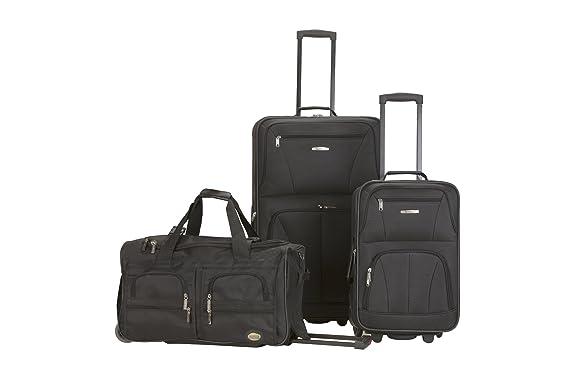 Amazon.com | Rockland Luggage 3 Piece Printed Luggage Set, Black ...
