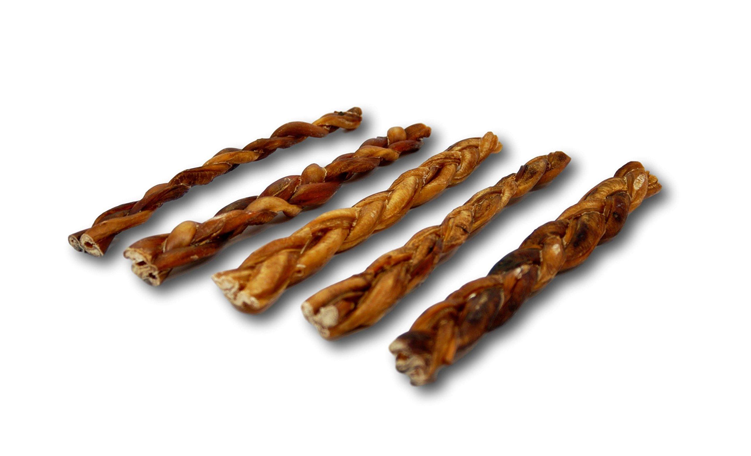 Top Dog Chews 12'' Braided Bully Sticks - 10 Pack