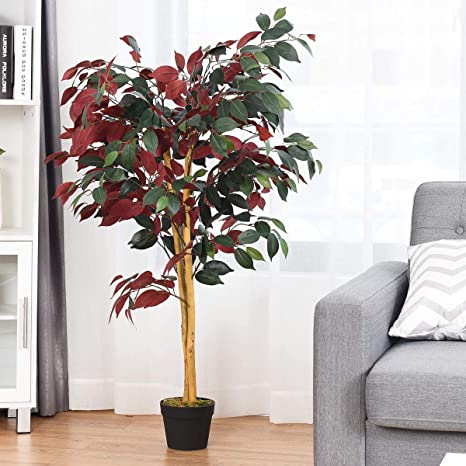 Amazon Com Luarane 4 Ft Artificial Fake Ficus Tree In Nursery Pot Green Realistic Greenery Plants Decorative Trees Cement Potted Indoor Plants For Home Office Lounge Lobby Home Kitchen