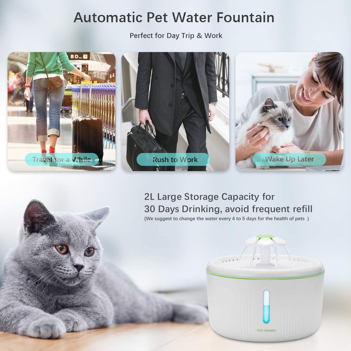 Multiple Pets 70oz//2L Drinking Fountains Bowl with LED Light for Cat and Small Dogs SHU UFANRO Pet Fountain Automatic Cat Water Fountain Dog Water Dispenser with 3 Replacement Filters