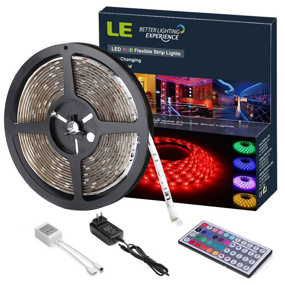 Amazon com le 12v dc waterproof rgb led light strip kit colour changing 150 units 5050 leds remote controller and power adaptor included led tape