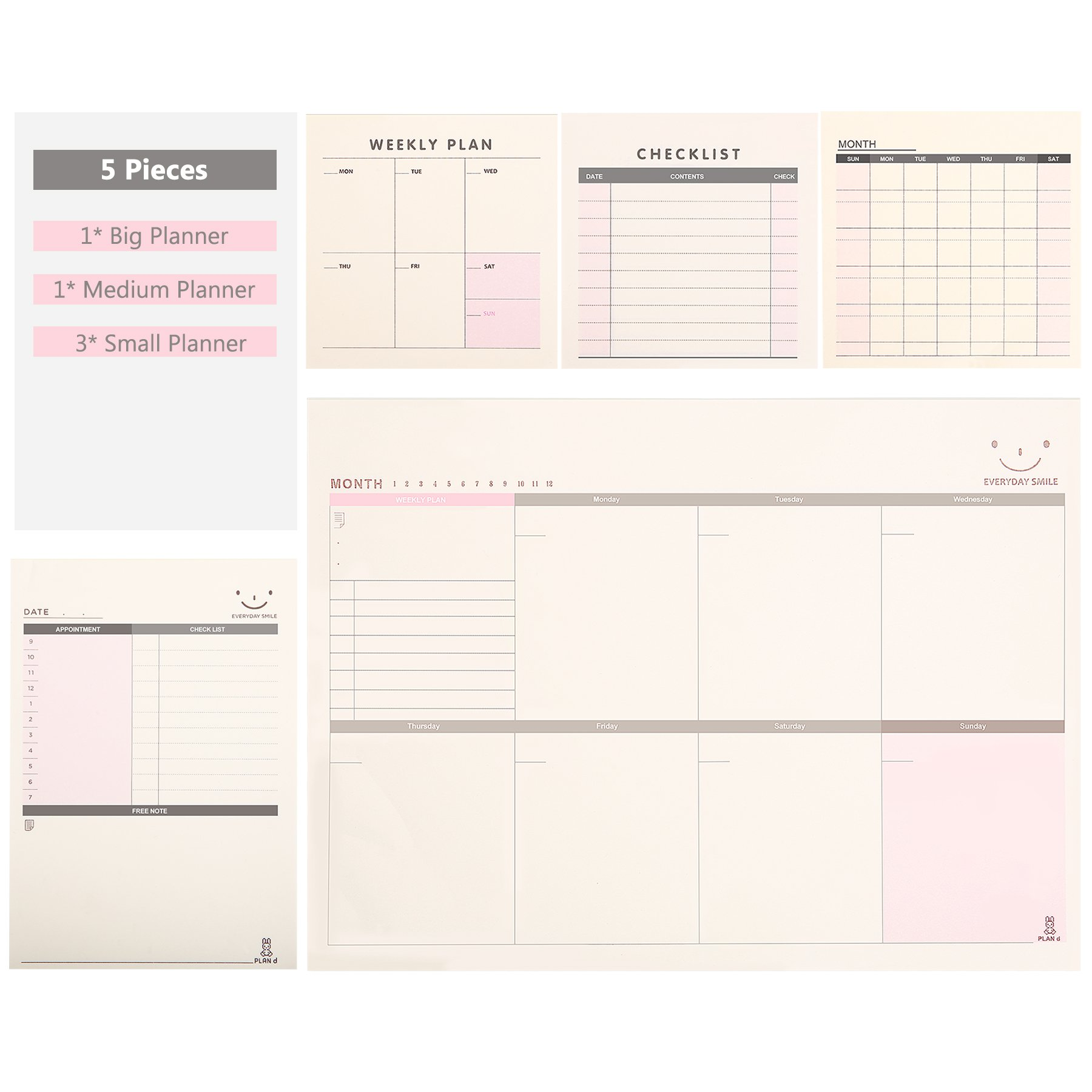 Skydue 2018 Happy Planner, Daily Weekly Monthly Planner Pad, Checklist To-Do List Notes - 5 Sets, Large, Medium, Small Planners