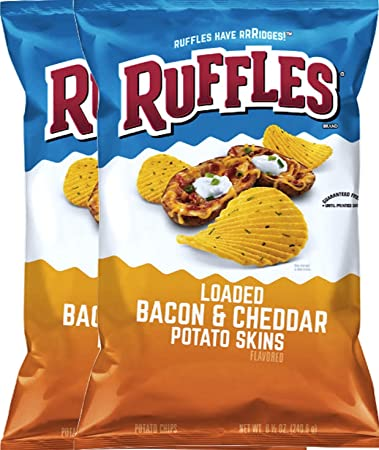 ffa0b19ddf883 Ruffles Loaded Bacon & Cheddar Potato Skins Snack Care Package for College,  Military, Sports 8.5 Oz Bag (2)