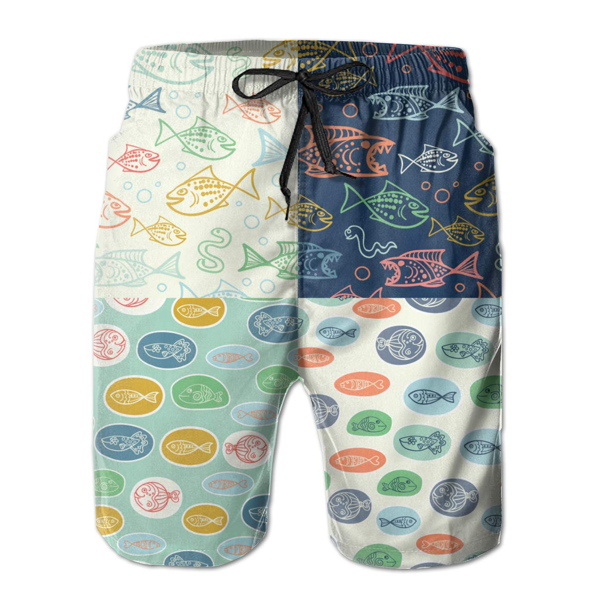 Liang Funny Fish Mens Swim Trunks Summer 3D Print Graphic Casual Athletic Swimming Short