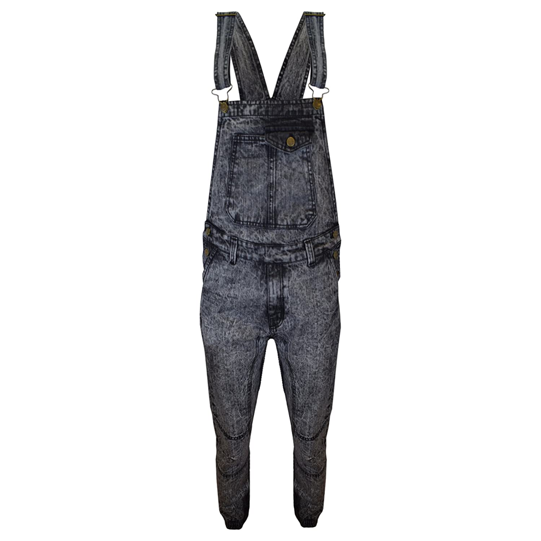 SA Fashions Mens New Blue Acid Wash Designer Dungaree Overalls Mid Bib Dungarees Denim Jeans Classic Button Pockets UK Sizes XS-XXL