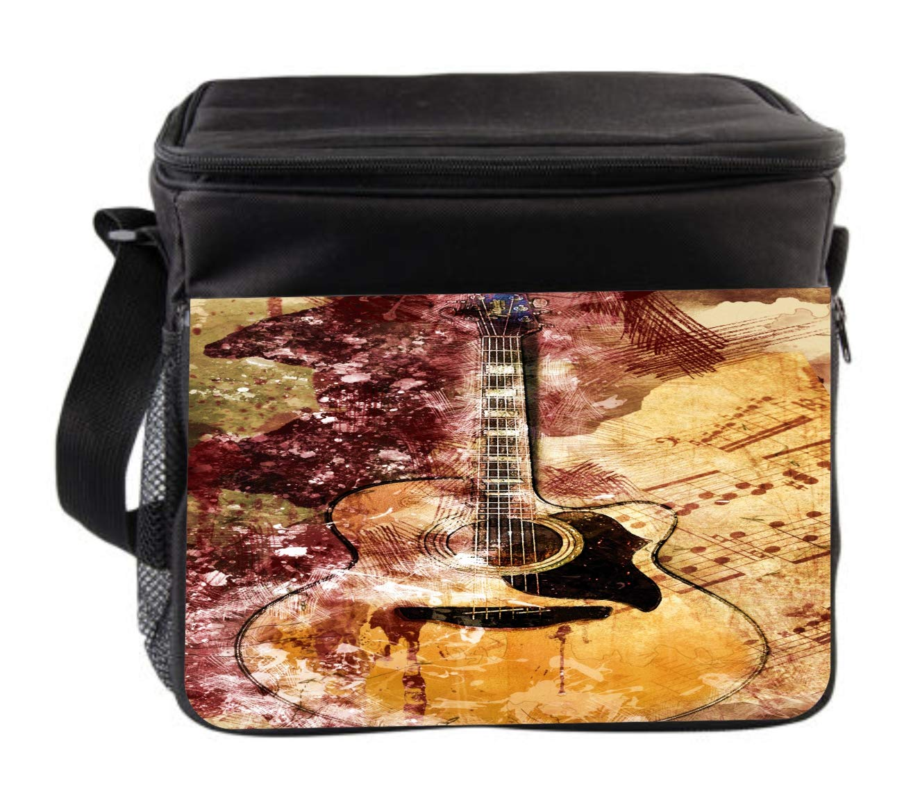 Music Guitar Art Cross Body Thermo Cooler Lunch Bag For Kids and Adults by Rosie Parker Inc.