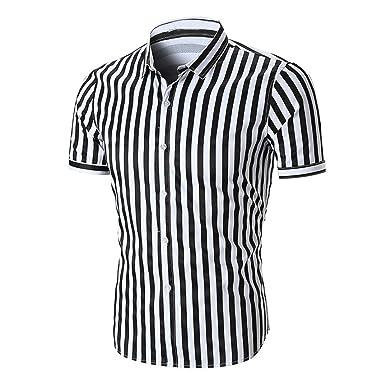 e45f5f8dc9bb5 Chemises Homme Chemises BoutonnéEs Chemises Bureau Chemise à Manches Courtes  RayéE D'éTé pour Hommes