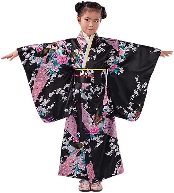 Amazon.com: Yuelian niños disfraz de niña seda Yukata ...