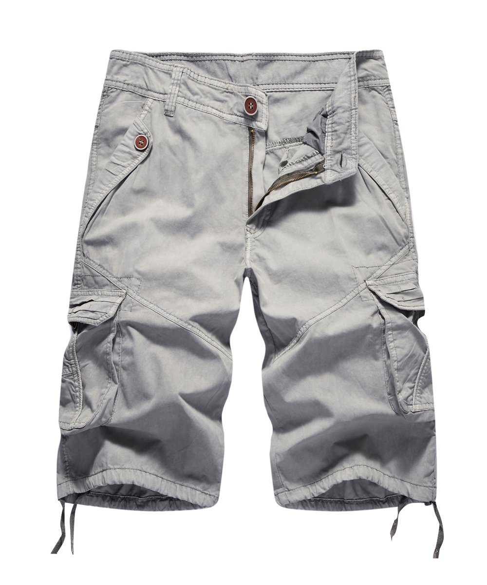 FOURSTEEDS Women's Casual Loose Fit Multi-Pockets Camouflage Twill Bermuda Cargo Shorts Grey US 12