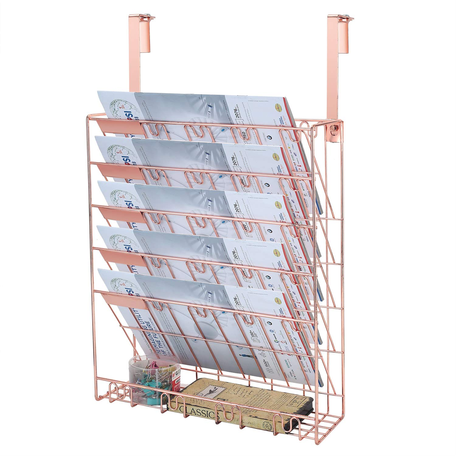 Samstar Wall File Holder Organizer, Mesh Metal Door Wall Mounted Paper Document Holder for Office Home 6 Tier,Rose Gold by samstar