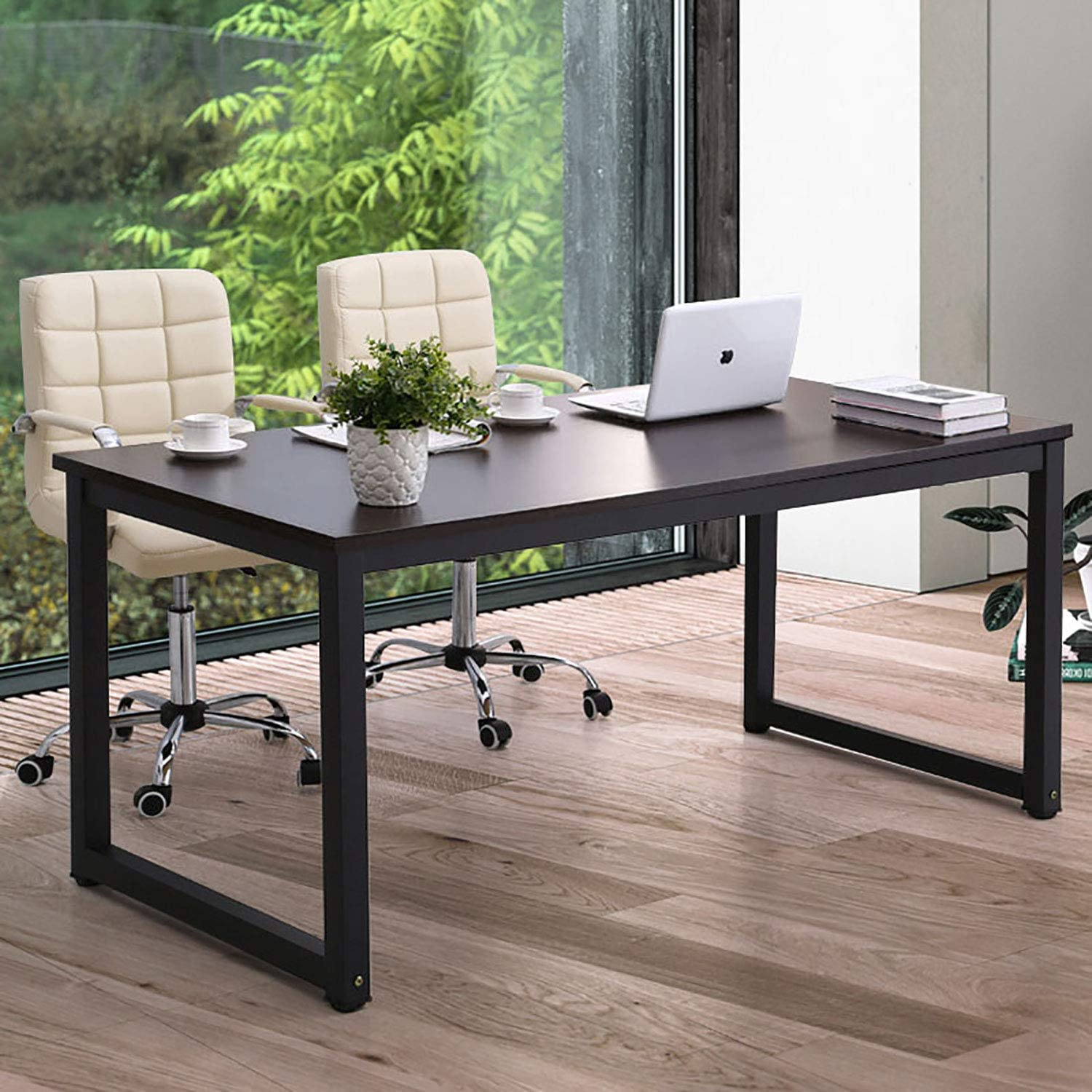 Amazon Com Home Office Desk 63 Inch Large Computer Desk Computer Table For Home Office With Wide Workstation Tabletop For Writing Made Of The Finish Wood Board And Sturdy Steel Legs Kitchen Dining