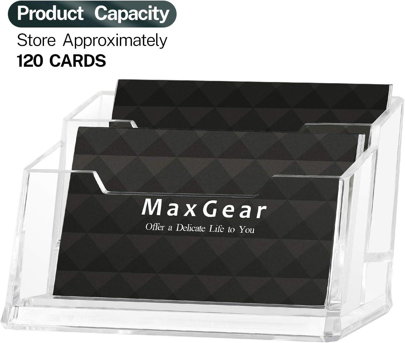 MaxGear Clear Acrylic Business Card Holder 48 Pocket Business Card Display  Plastic Business Card Stand Holder Desktop Multi Business Card Holder with