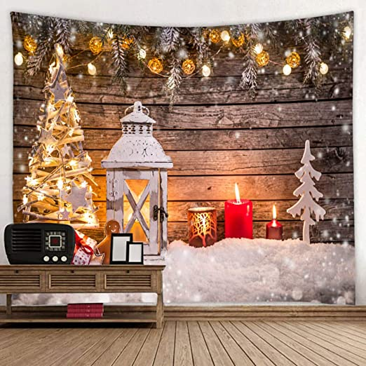 Amazon Com Broshan Christmas Wall Tapestry King Eve Xmas Tree Candles Ornaments Decorations Wooden Print Tapestry Wall Art Vintage For Winter Holiday Wall Tapestry Blanket Gold And Brown Home Kitchen