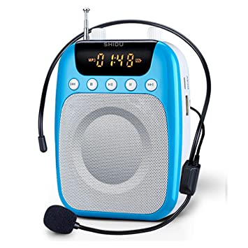 Amplificador de voz portátil, SHIDU Amplificador de voz FM con micrófono y clip para cinturón