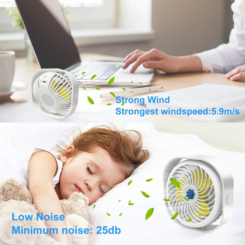 Ventola USB silenziosa da scrivania con batteria da 2000 mAh 3 velocit/à con cavo USB per casa Bestllin ufficio libreria potente mini ventilatore portatile con rotazione a 360/°