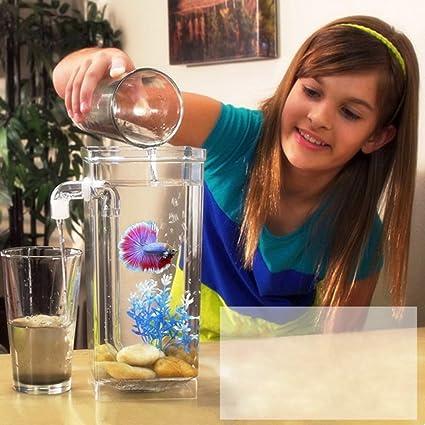Zantec Pecera decorativa de cristal transparente Uno mismo que limpia el tanque de peces plástico el