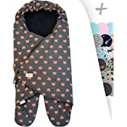 JANABEBE Swaddling Wrap, Car Seat and Pram Blanket Universal for Infant and Child car Seats e.g. Maxi-COSI, Britax, for a Pushchair/Stroller, Buggy or Baby 0 to 11 Months (FLUOR Heart, Fleece)