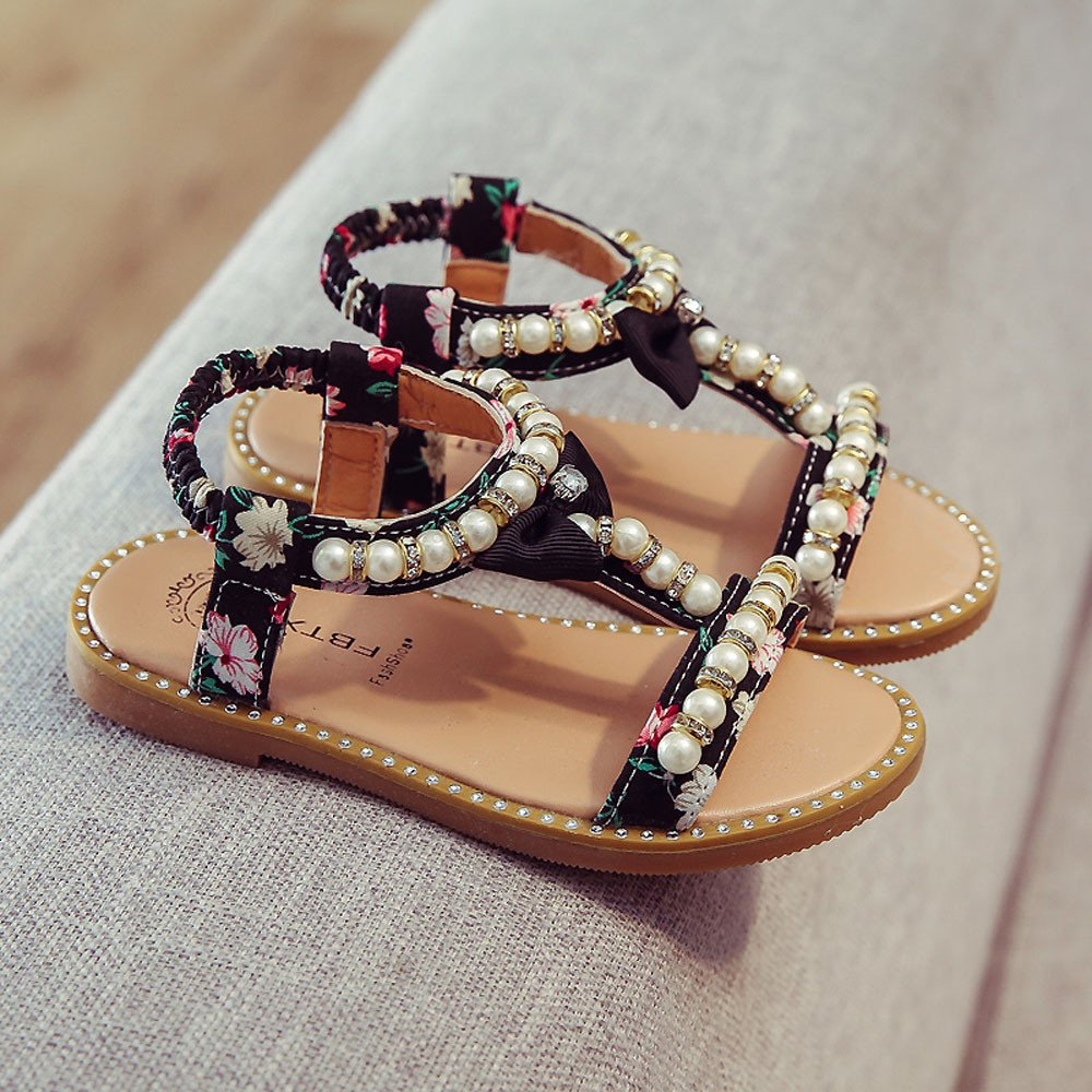 Dainzuy Baby Shoes Girls Sandals Bowknot Pearl Crystal Roman Sandals Princess Shoes 12 18 Months Walking