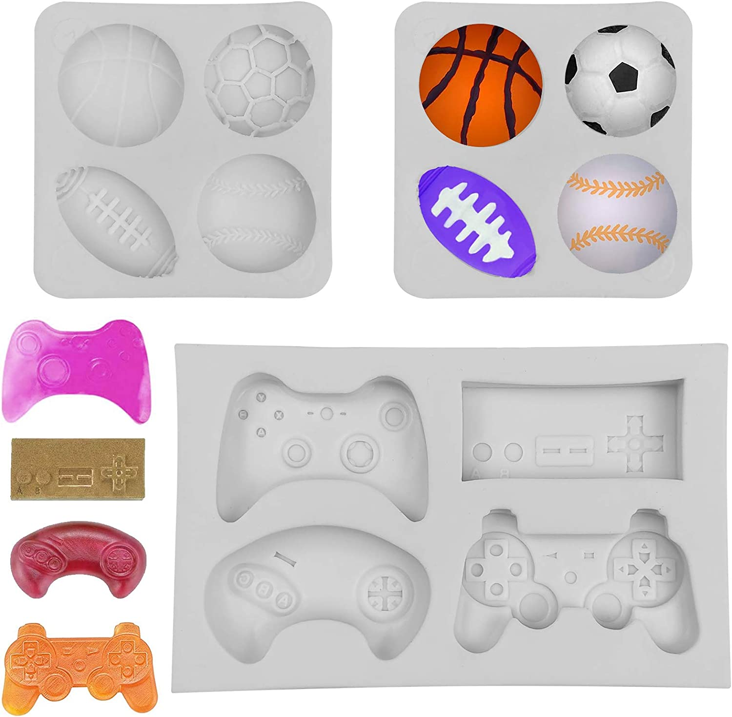 3 Pack Chocolate Fondant Molds, Game Controller Mold Ball Cake Silicone Molds, Football Basketball Baseball Rugby Candy Molds for Cake Decoration, Resin, Polymer Clay, Pudding, Keychain, Grey
