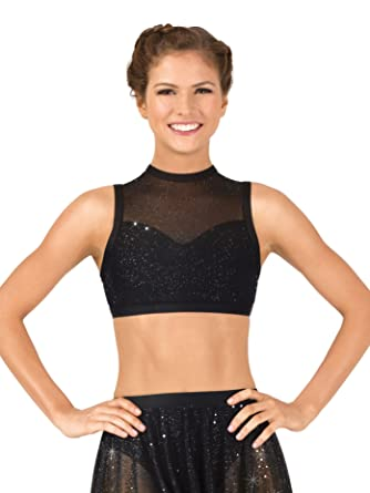 2db50435a5 Womens Performance Twinkle Mesh High Neck Tank Bra Top TW604 at Amazon  Women s Clothing store