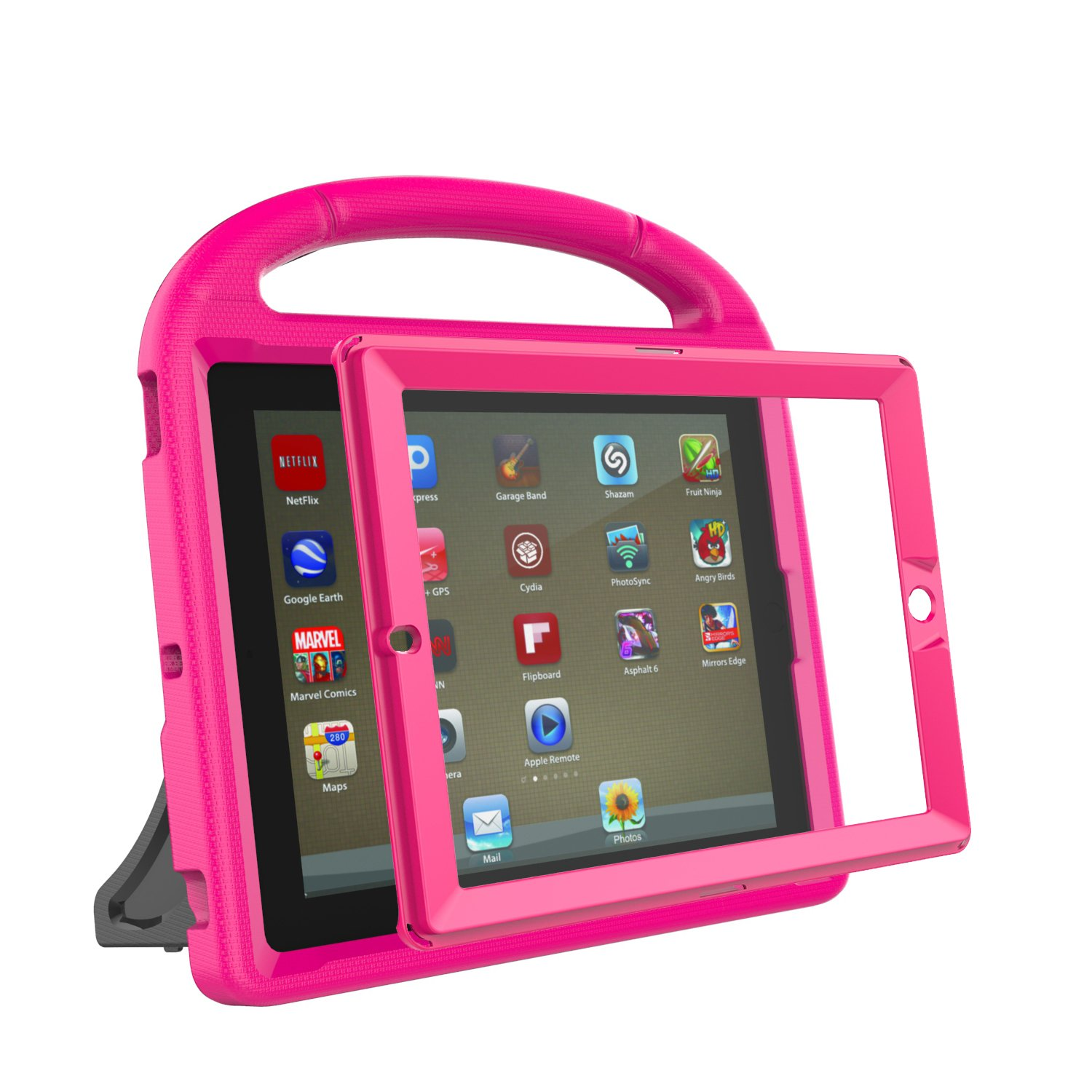 LTROP iPad 2 3 4 Kids Case - Light Weight Shock Proof Handle Friendly Convertible Stand Kids Case with Bulit in Screen Protector for iPad 2, iPad 3rd Generation, iPad 4th Generation,Rose by LTROP (Image #4)