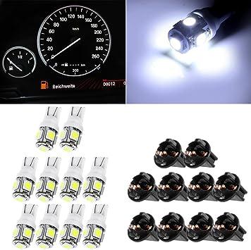 10x Panel Cluster Light Lamp Car T10 194  Blue Halogen Bulbs+Twist Locks Sockets