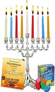 Complete Hanukkah Menorah Set - Menorah - Candles - Dreidels - Hanukkah Handbook