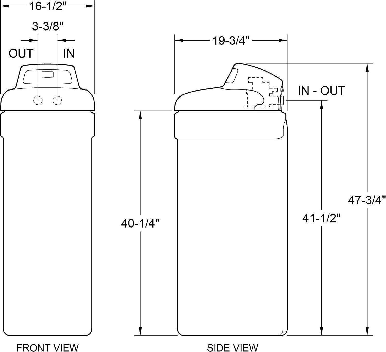 Ecopure EPHS007 EPHS Water Softener - Dimensions